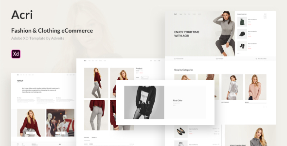 Acri – Fashion & Clothing eCommerce Adobe XD Template