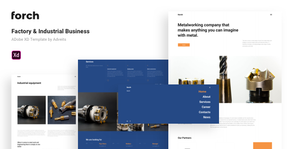 Forch – Factory & Industrial Business Adobe XD Template
