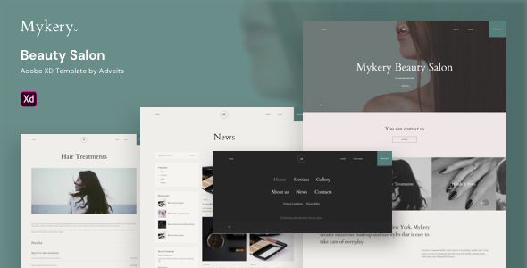Mykery – Beauty Salon Adobe XD Template