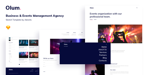 Olum – Business & Events Management Agency Sketch Template