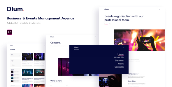 Olum – Business & Events Management Agency Adobe XD Template