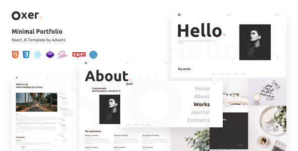 Oxer – Minimal Portfolio React JS Template