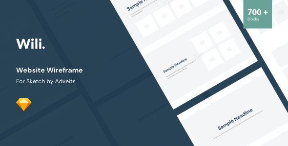 Wili – Website Wireframe for Sketch