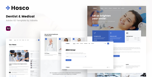 Hosco – Dentist & Medical Adobe XD Template