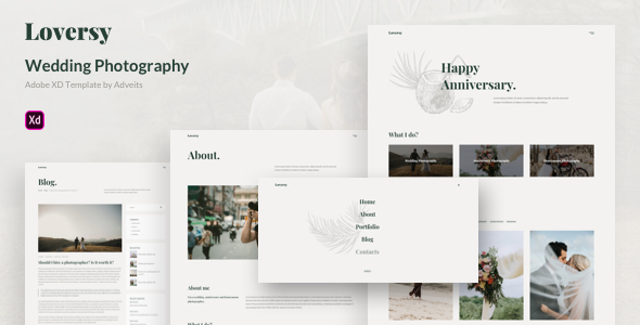 Loversy - Wedding Photography Adobe XD Template