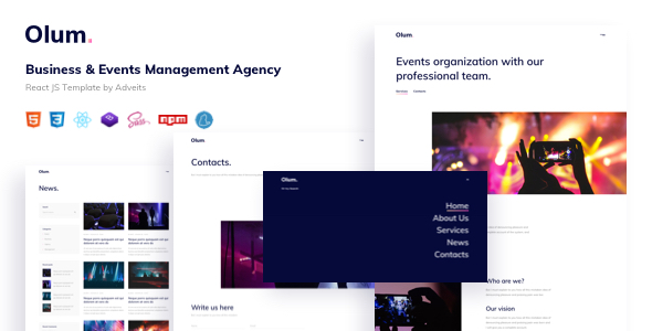 Olum – Business & Events Management Agency React JS Template