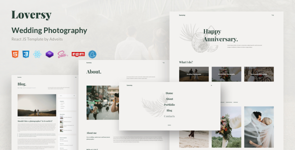 Loversy – Wedding Photography React JS Template