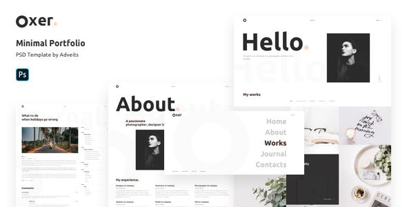 Oxer – Minimal Portfolio PSD Template