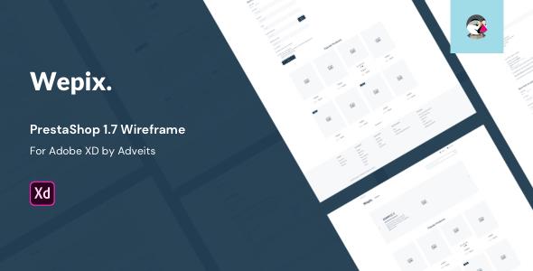 Wepix – PrestaShop 1.7 Wireframe for Adobe XD
