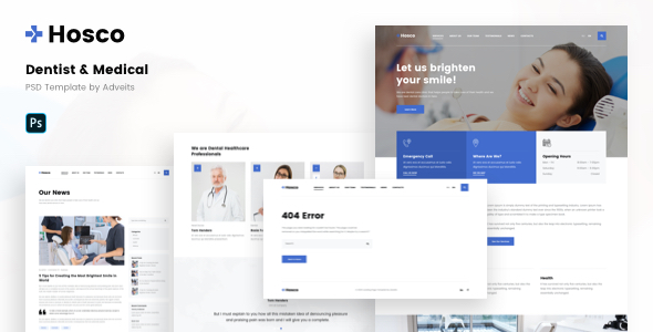 Hosco – Dentist & Medical PSD Template