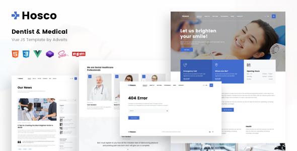 Hosco – Dentist & Medical Vue JS Template