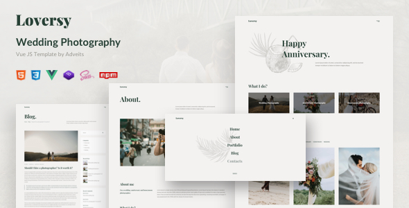 Loversy – Wedding Photography Vue JS Template