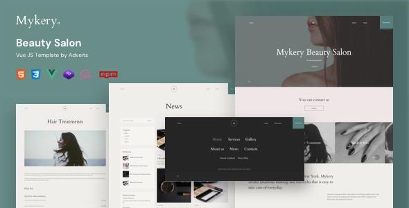 Mykery – Beauty Salon Vue JS Template