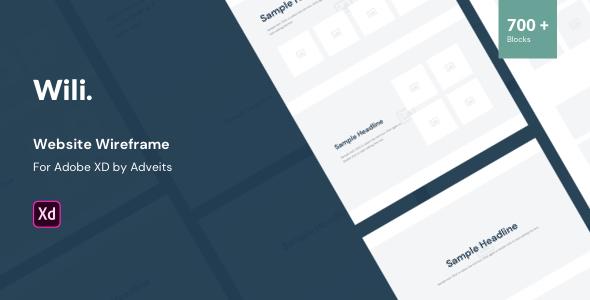 Wili – Website Wireframe for Adobe XD