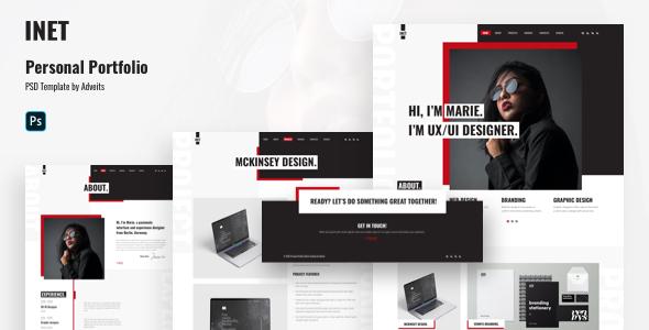 Inet – Personal Portfolio PSD Template