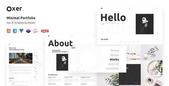 Oxer – Minimal Portfolio Vue JS Template